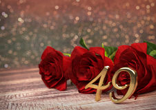 Birthday concept with red roses on wooden desk. forty-nineth. 39th. 3D render Stock Images