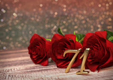 Birthday concept with red roses on wooden desk. seventy-first . 71st. 3D render Royalty Free Stock Photo