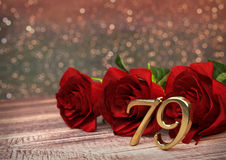 Birthday concept with red roses on wooden desk. seventy-nineth. 79th. 3D render Stock Photos