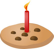 Birthday cookie. Birthday chocolate chip cookie with candle, illustration Vector illustration available for download. Click here for more vectors vector illustration