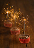 Birthday cookie and sparkler Royalty Free Stock Images