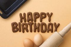 Birthday Cookies. Letter biscuits spelling out the words Happy Birthday Royalty Free Stock Photography