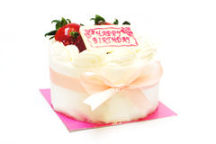 Birthday cream cake with strawberry on top Royalty Free Stock Photo
