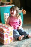 birthday crying girl opening presents Στοκ Φωτογραφίες