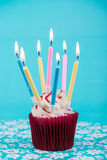 Birthday cup cake with many candles Stock Photos