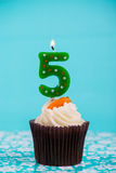 Birthday cup cake with number five Stock Photo