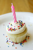 Birthday Cupcake. With candle and sprinkles stock photos