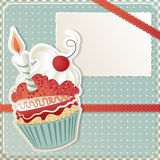 Birthday Cupcake. Birthday card with funny cupcake and copy space Stock Photos