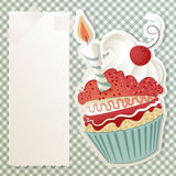Birthday cupcake. Birthday card with funny cupcake and paper note royalty free illustration