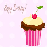 Birthday cupcake. With cherry. illustration royalty free illustration