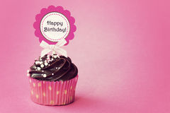 Birthday cupcake. With space for copy Royalty Free Stock Photo