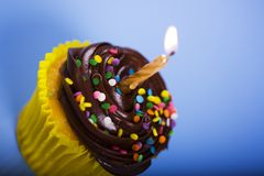 Birthday Cupcake. With Lighted Candle and Blue Background stock image