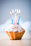Birthday cupcake. With five candles Royalty Free Stock Photography