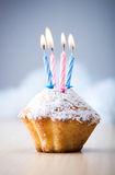 Birthday cupcake. With four candles Stock Photography