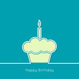 Birthday cupcake. Abstract background with birthday cupcake and lighted candle. Outline. minimal royalty free illustration