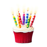 Birthday cupcake. Against a white background Royalty Free Stock Image