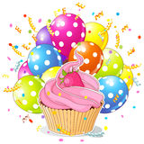 Birthday Cupcake with Balloons Stock Images