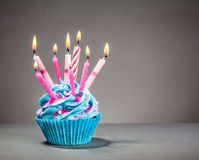 Birthday Cupcake. With blue icing and pink candles on a grey background Stock Photography