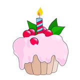 Birthday cupcake with burning candle. Pink berry cake.  royalty free illustration
