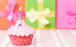 Birthday cupcake with burning candle Royalty Free Stock Images