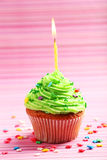 Birthday cupcake with butter cream and candle on colorful background Stock Image
