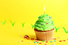 Birthday cupcake with butter cream and candle on yellow background Stock Photos