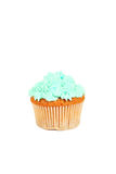 Birthday cupcake with butter cream isolated on white Stock Photos