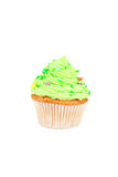 Birthday cupcake with butter cream isolated on white Royalty Free Stock Photos