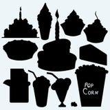 Birthday cupcake, cake, pie, chocolate bar, ice cream and popcorn Royalty Free Stock Photography