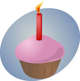 Birthday cupcake with candle. Birthday cupcake with lit candle festive illustration Royalty Free Stock Photo