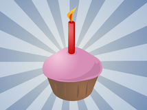 Birthday cupcake with candle. Birthday cupcake with lit candle festive illustration Royalty Free Stock Images