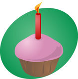 Birthday cupcake with candle. Birthday cupcake with lit candle festive illustration Royalty Free Stock Photos