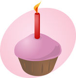 Birthday cupcake with candle. Birthday cupcake with lit candle festive illustration Stock Images