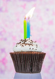 Birthday cupcake with candle Royalty Free Stock Photo
