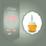Birthday cupcake with candle and pink ribbon. Vector eps10,illustration royalty free illustration
