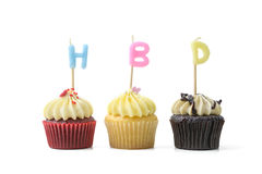 Birthday cupcake with candle Royalty Free Stock Photos