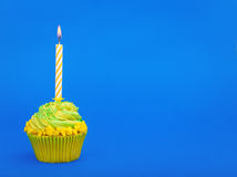 Birthday cupcake with candles Royalty Free Stock Image