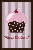 Birthday cupcake card. Illustration of a birthday cupcake with cherry on striped background.EPS file available vector illustration