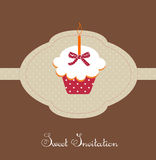 Birthday cupcake card. Illustration Royalty Free Stock Photography
