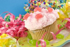 Birthday Cupcake with Colorful Decorations Royalty Free Stock Image