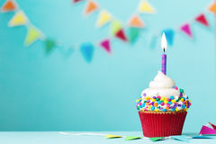 Birthday cupcake. Colorful cupcake with single birthday candle