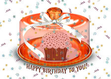 Birthday cupcake with confetti Royalty Free Stock Photos