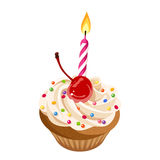 Birthday cupcake with cream, cherry, sprinkles and candle. Vector illustration. Vector birthday cupcake with cream, cherry, colorful sprinkles and candle Stock Photo
