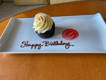 A birthday cupcake delivered to a cruise ship passenger wishing them a Happy Birthday