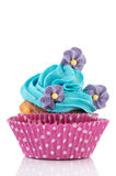Birthday cupcake with flowers Royalty Free Stock Photos
