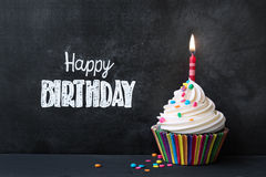 Birthday cupcake Stock Photography