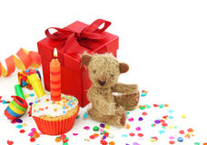 Birthday cupcake with gift box. And teddy bear Stock Images