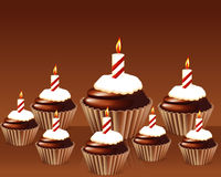 Birthday cupcake Greeting card. With candle Royalty Free Stock Photography