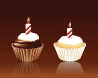 Birthday cupcake Greeting card. With candle Stock Photo