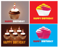 Birthday cupcake Greeting card. With candle Royalty Free Stock Photos